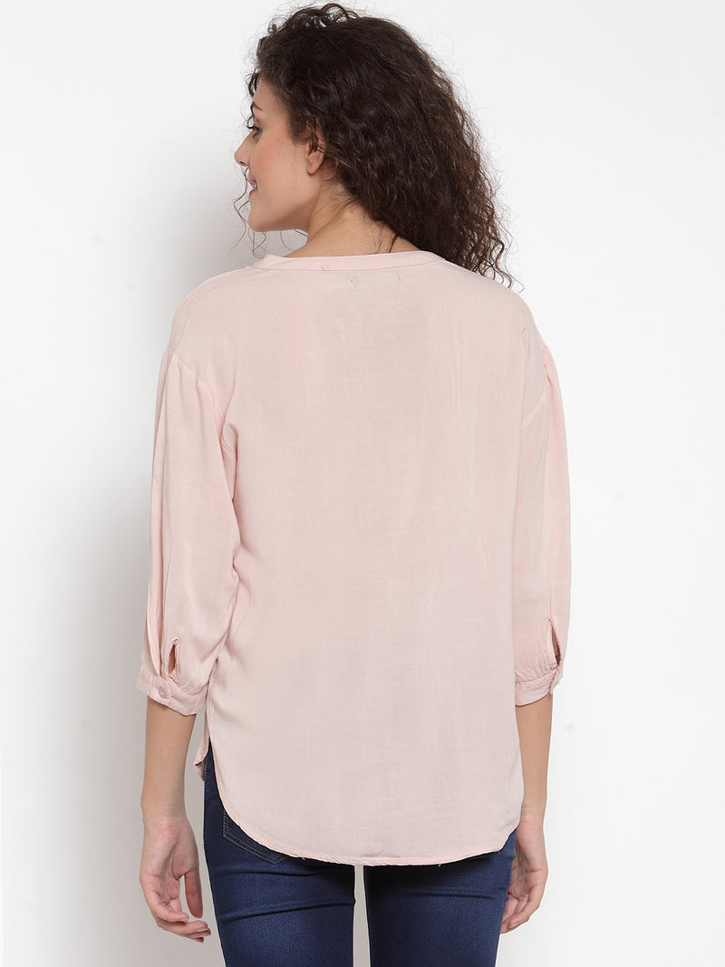 Women Solid Pink Relaxed Fit Top With Mandarin Collar