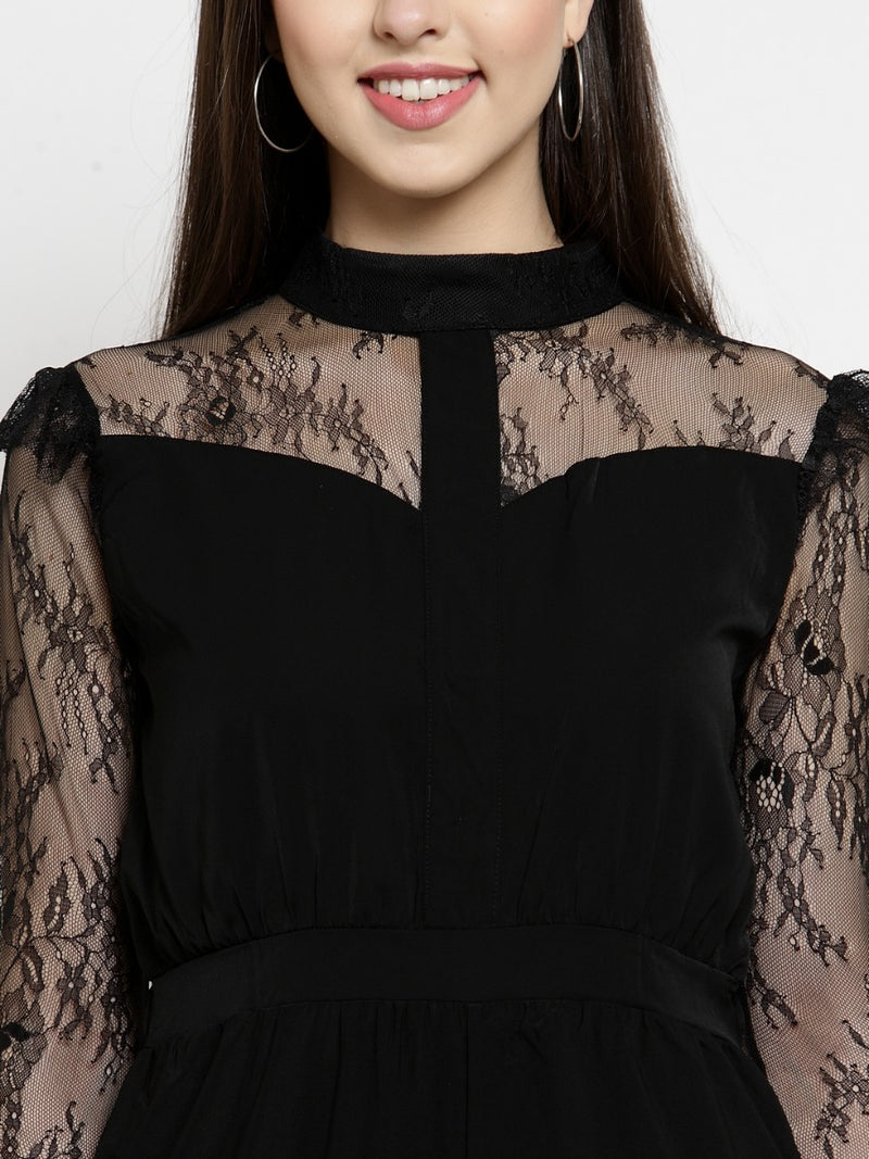 Women Black Slim Fitted Jumpsuit With Lace Detail