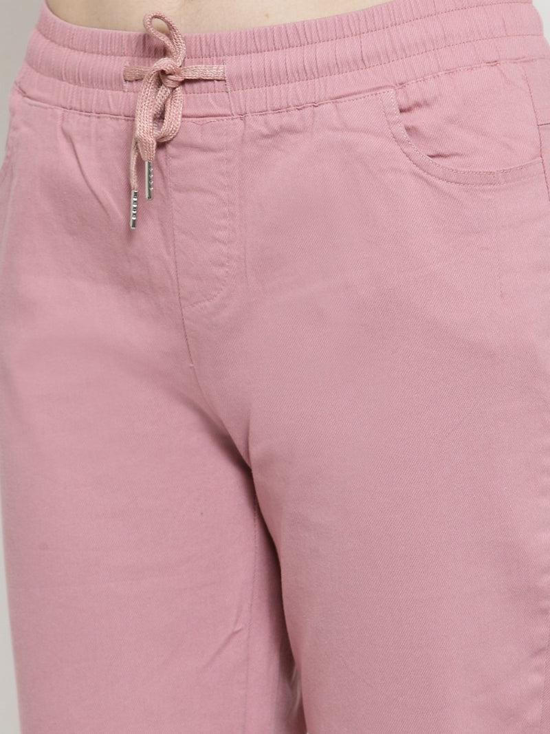 Women Solid Pink Cotton Lower
