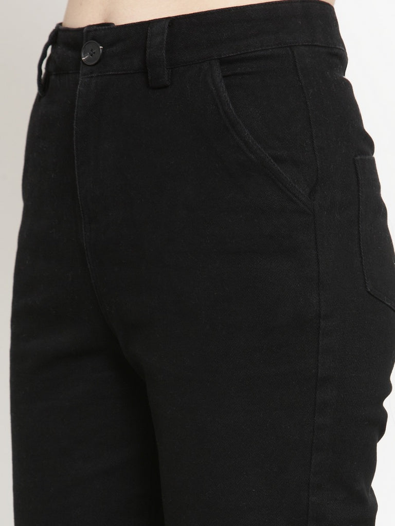 Women Solid Black Cotton Trouser