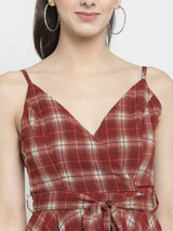 Women Maroon Checked Wrap Dress