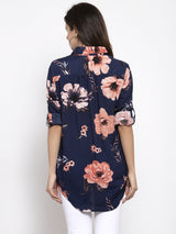 Women Navy Blue Floral Printed Shirt