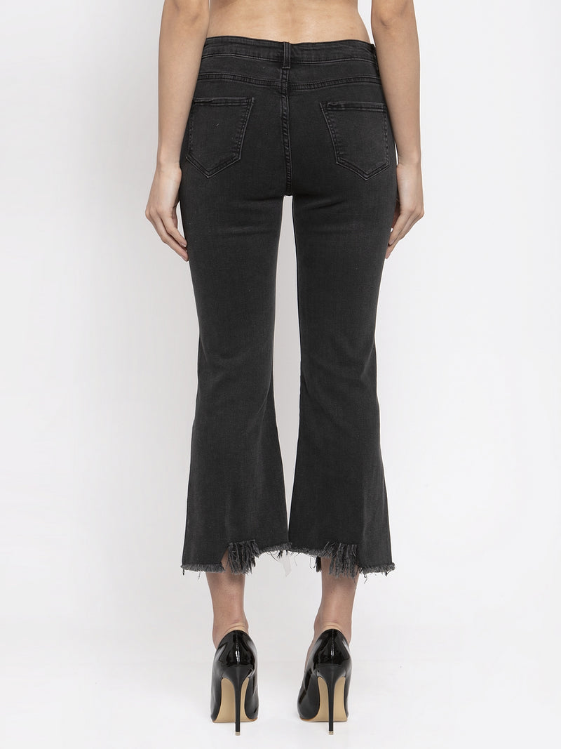 Women Black Bell Bottom Denim Capri