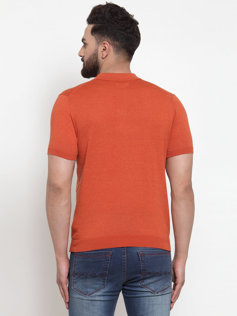 Mens Rust Collar Regular Fit T-Shirt