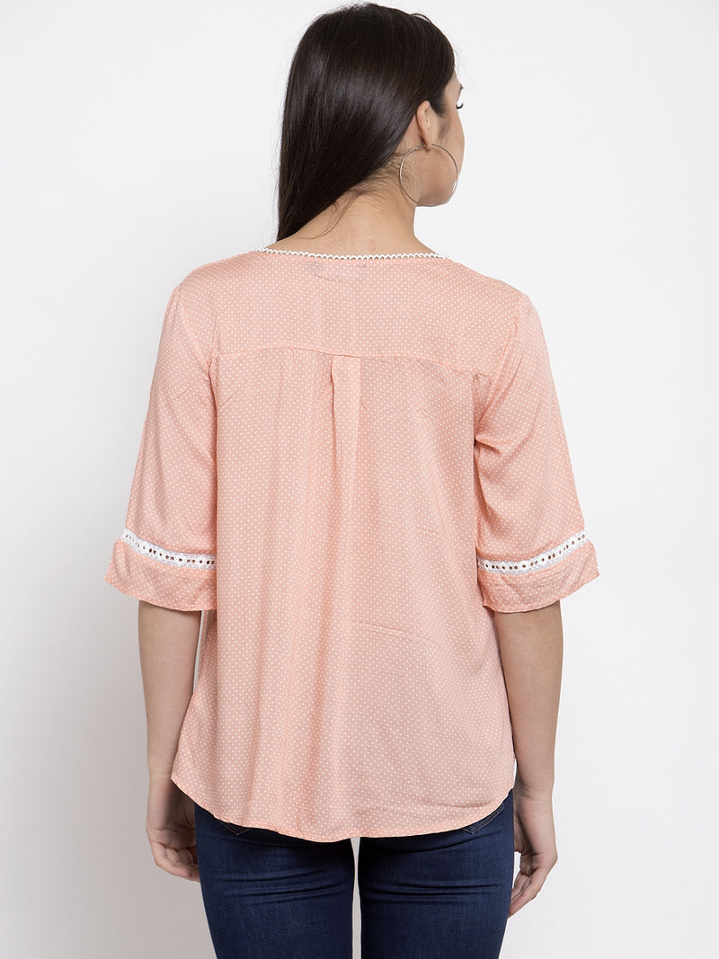 Women Solid Pink Top With Crotchet Details