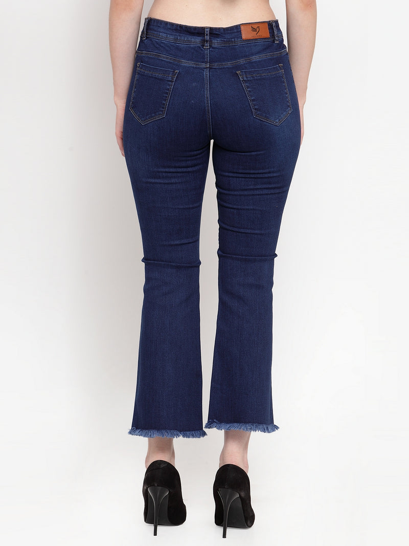 Women Dark Blue Denim Skinny Fitted Jeans With Buttons