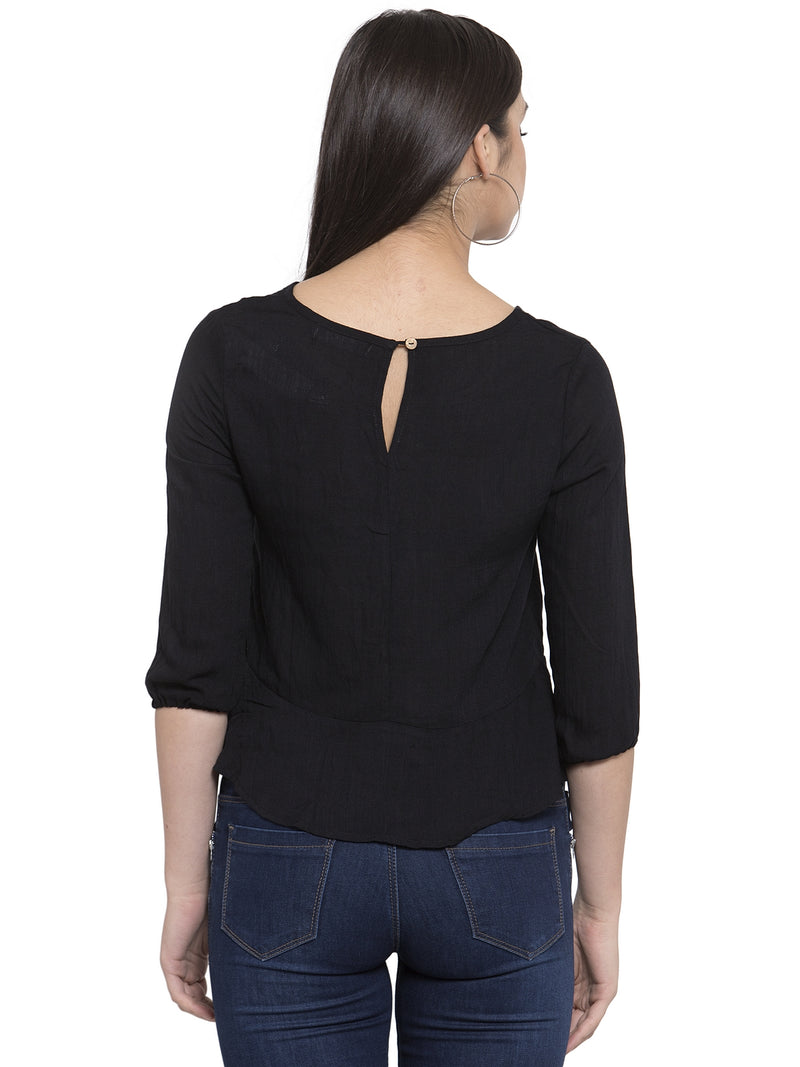 Women Black Drop-Waist Top With Quarter Sleeves