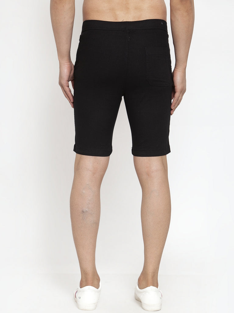 Mens Black Cotton Linen Solid Shorts