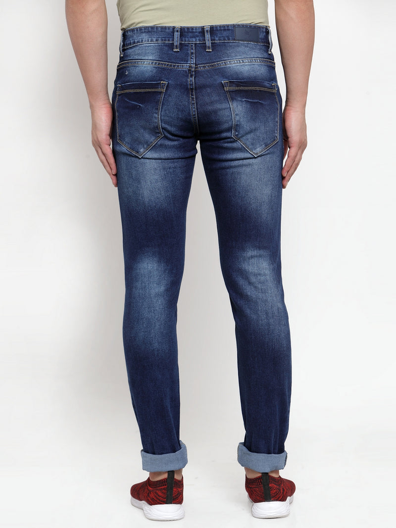 Men Blue Washed Regular Fitted Jeans