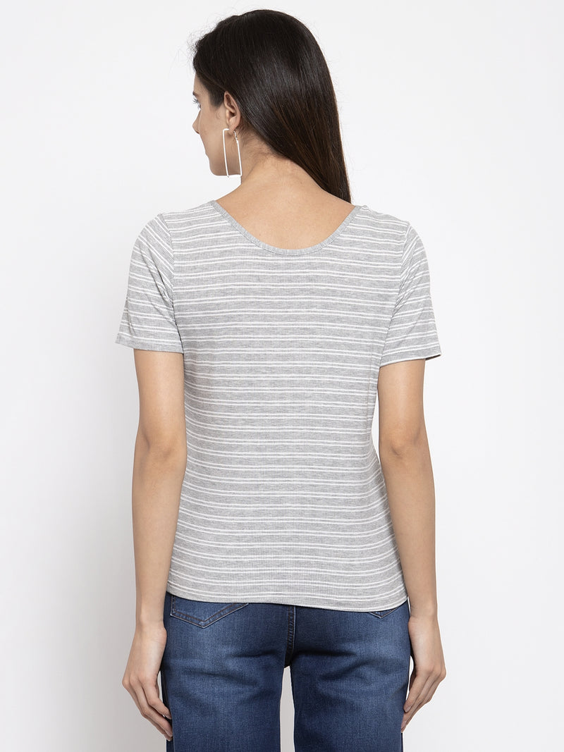 Women Striped Grey Scoop Neck Top