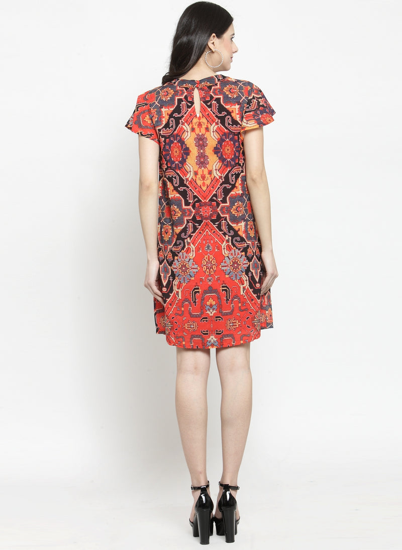 Women Printed Red Round Neck Shift Dress
