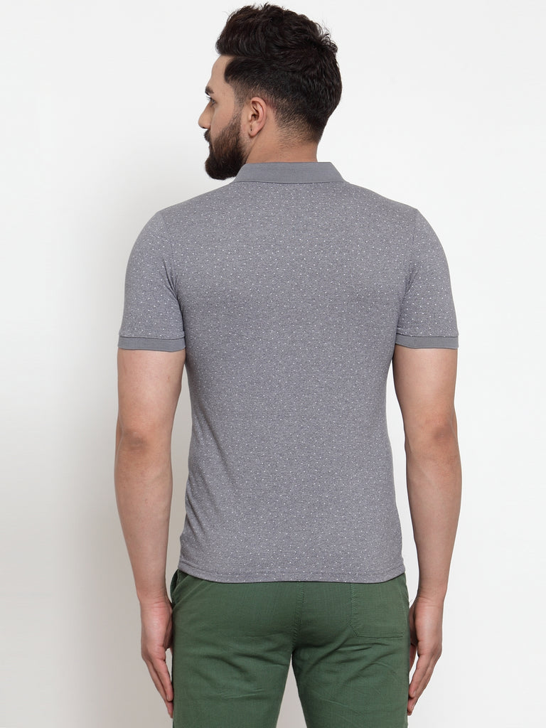 Mens Grey Hosiery Solid T-Shirt