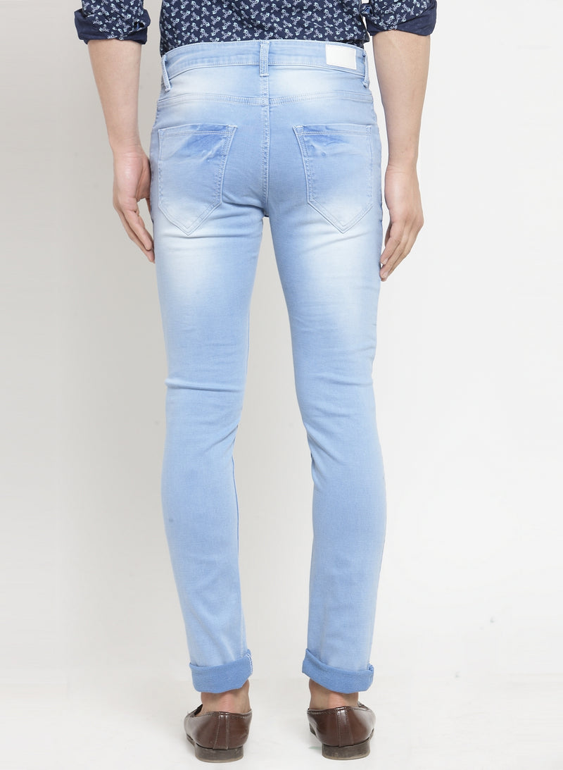 Men'S Light Blue Washed Denim Regular Fit Jeans