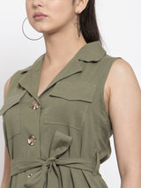 Women Olive Green Trench Collar Dress