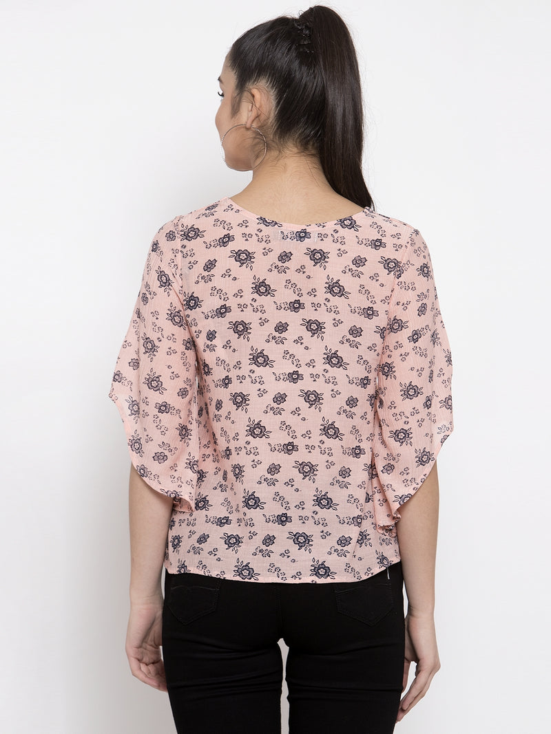 Women Pink Floral Printed Top With Bell Sleeve