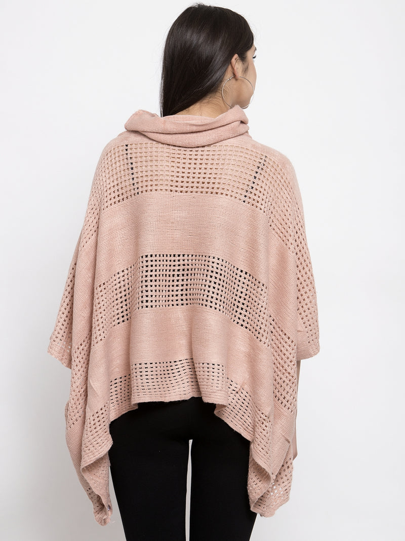 Women Solid Pink Cowl Neck Ponchu