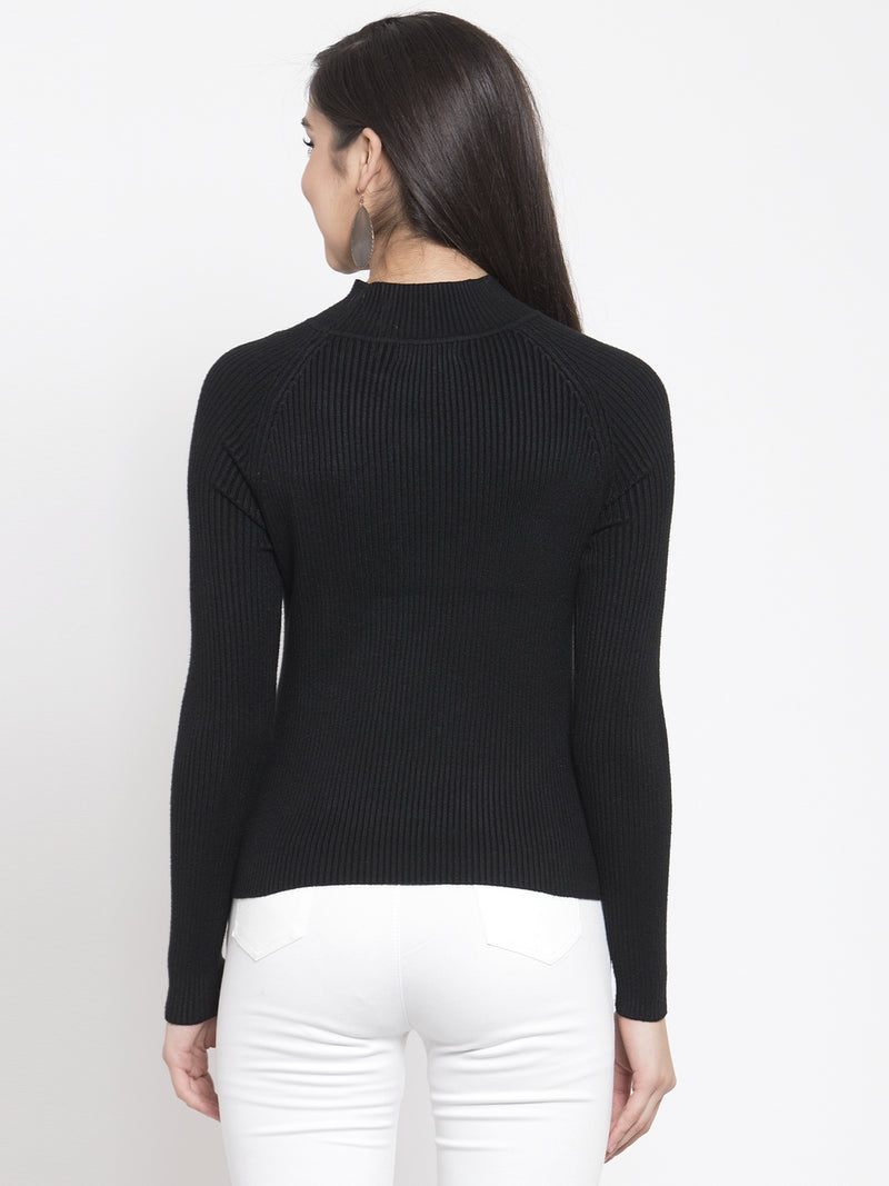 Women Black Solid Pullover