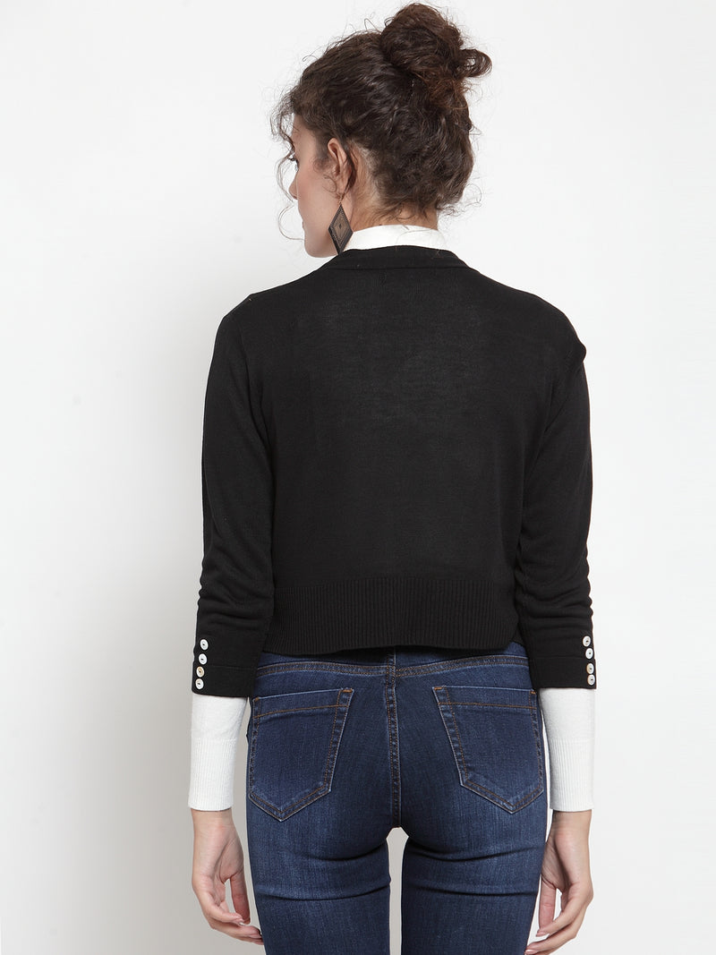 Women Black Solid Open Front Shrug