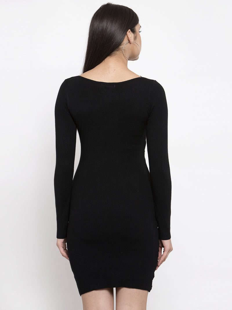 Women Solid Black Round Neck Dress