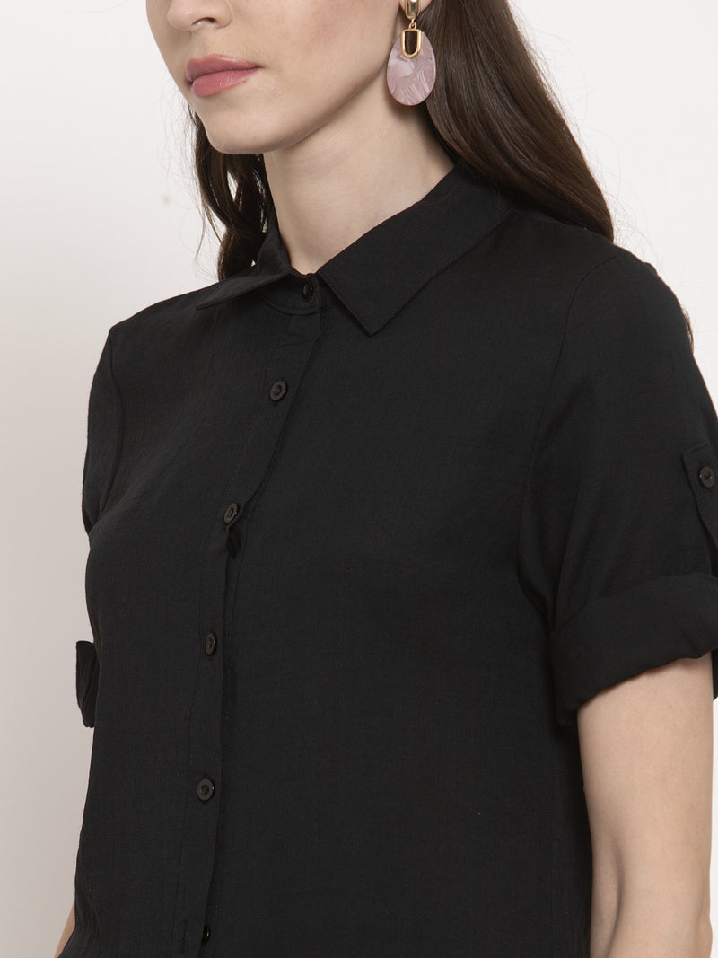 Ladies Black Solid Collared Shirt