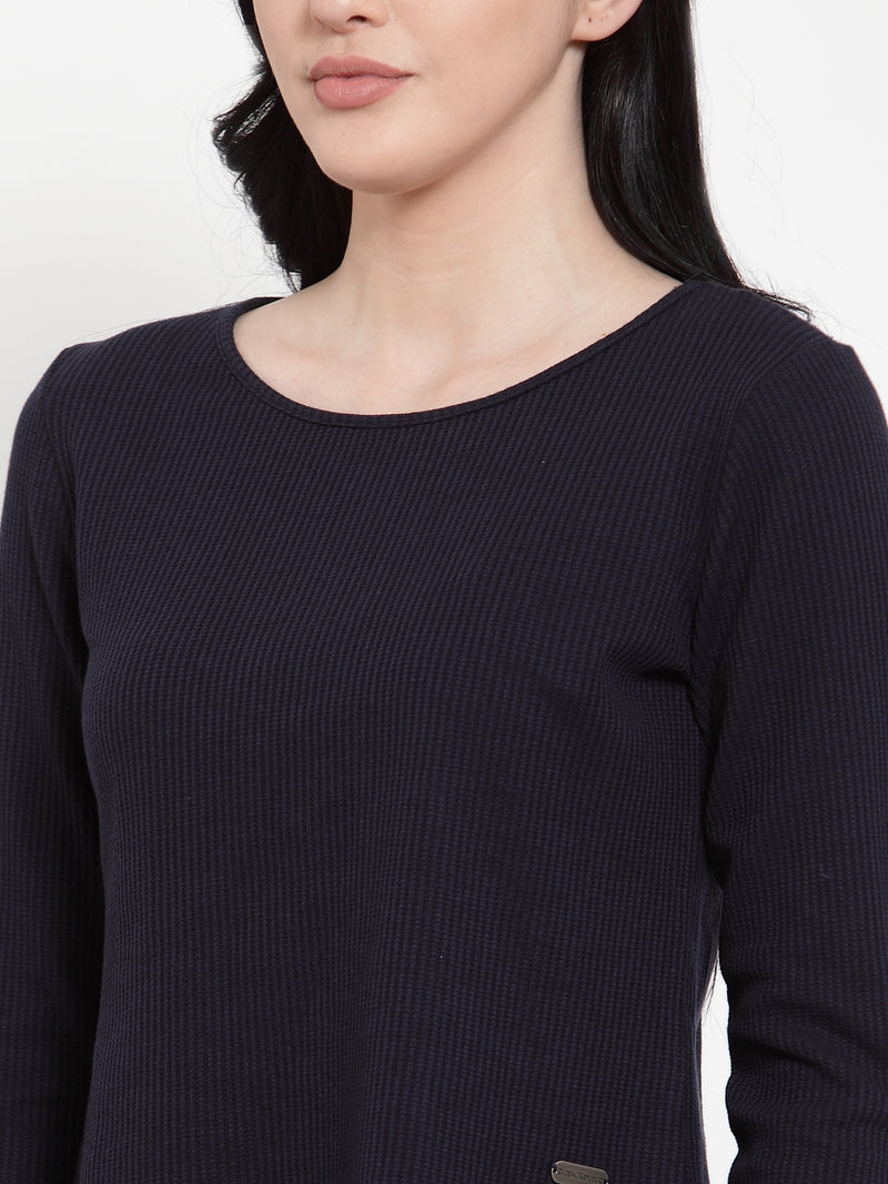 Women Navy Blue Hosiery Round neck Solid Top