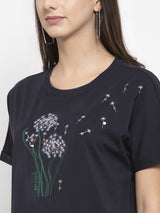 Women Printed Navy Blue Round Neck Top