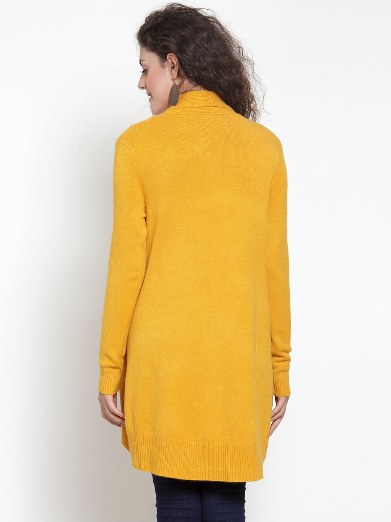 Women Mustard Yellow Solid Open Front Shrug