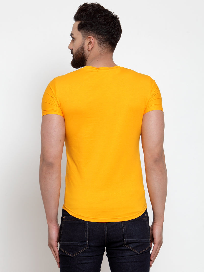 Mens Yellow Hosiery Printed T-Shirt
