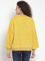 Women Embroidered Yellow Round Neck Pullover