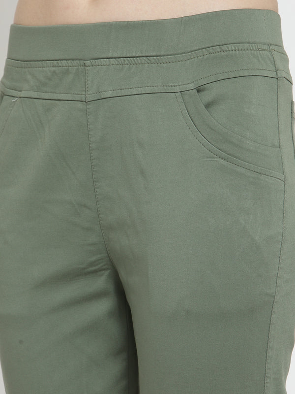 Women Olive Green Mid-Rise Stretchable Jegging