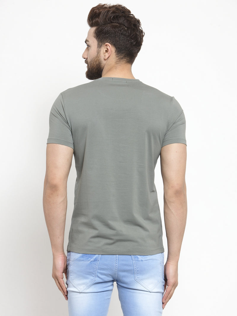 Men Global Printed Olive Green Hosiery T-Shirt