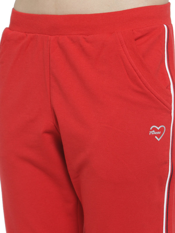 Women Red Slim Fit Capri With Side Stripe Detail