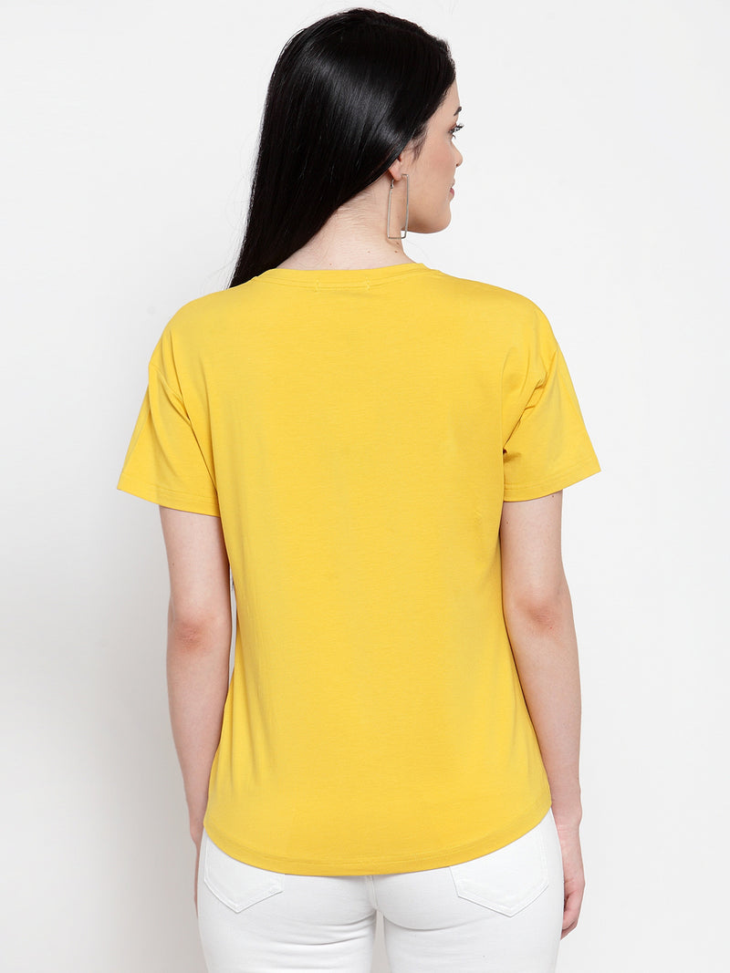Women Mustard Hosiery Printed Top