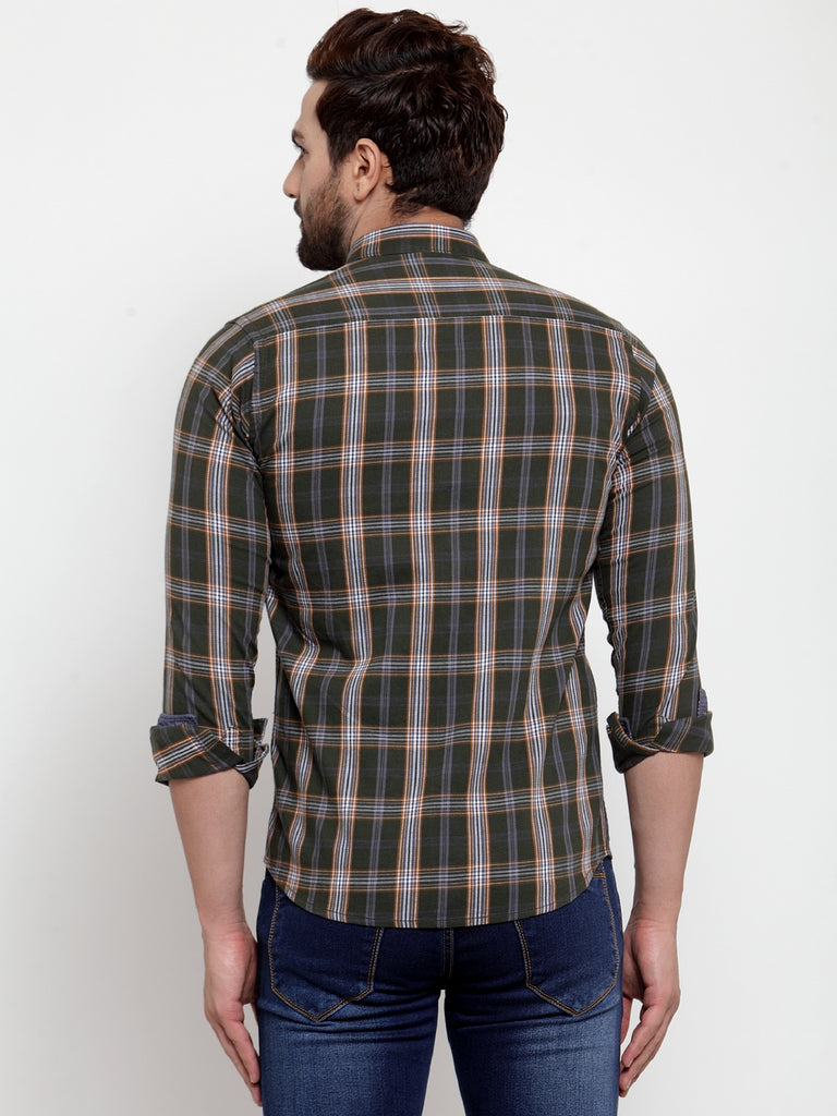 Mens Olive Shirt Collar Checked Shirt
