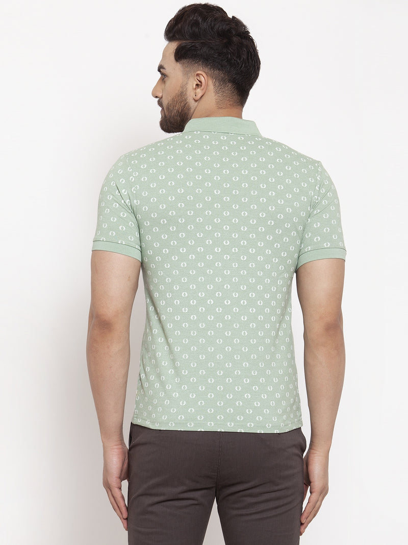 Men Green  Dot Printed Polo T-Shirt