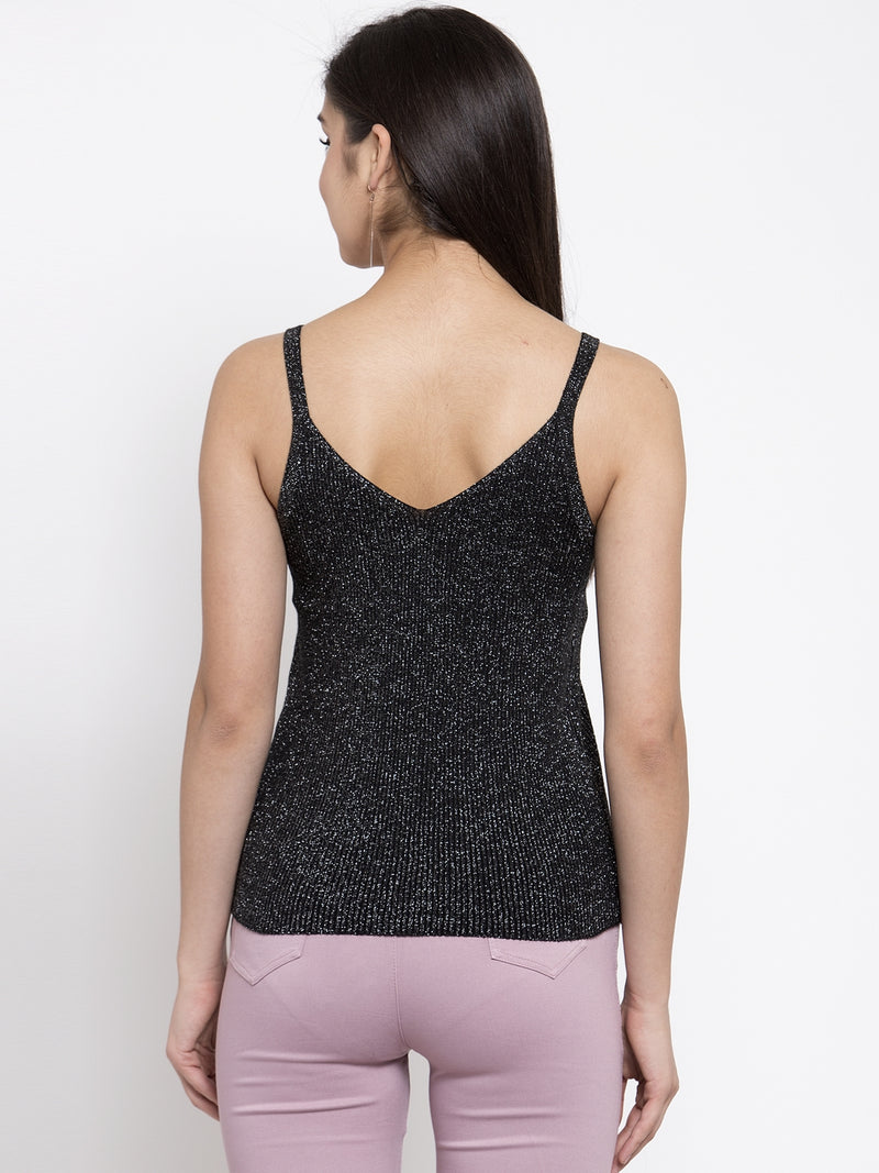 Women Black Knitted Tank Top With Silver Sheen