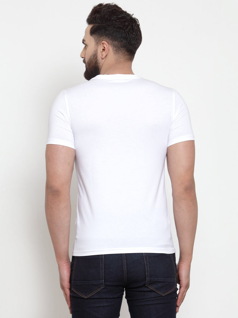 Men Original White Printed Hosiery T-Shirt