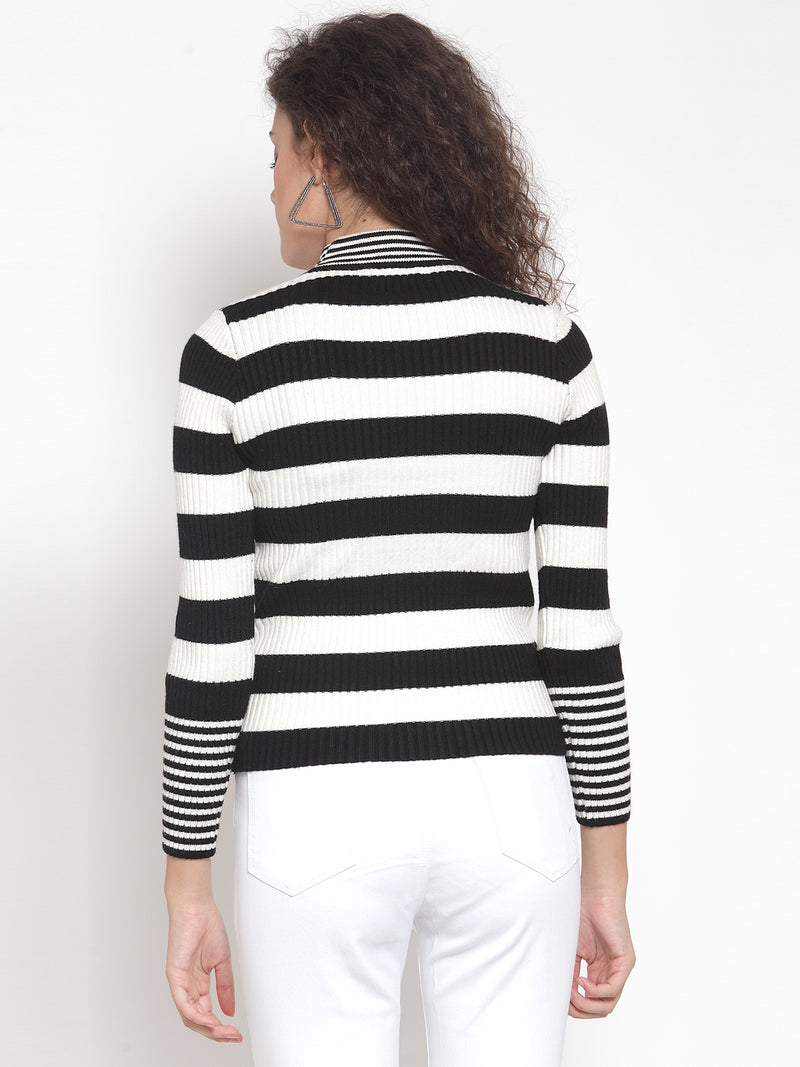 Women Striped White Round Neck Pullover