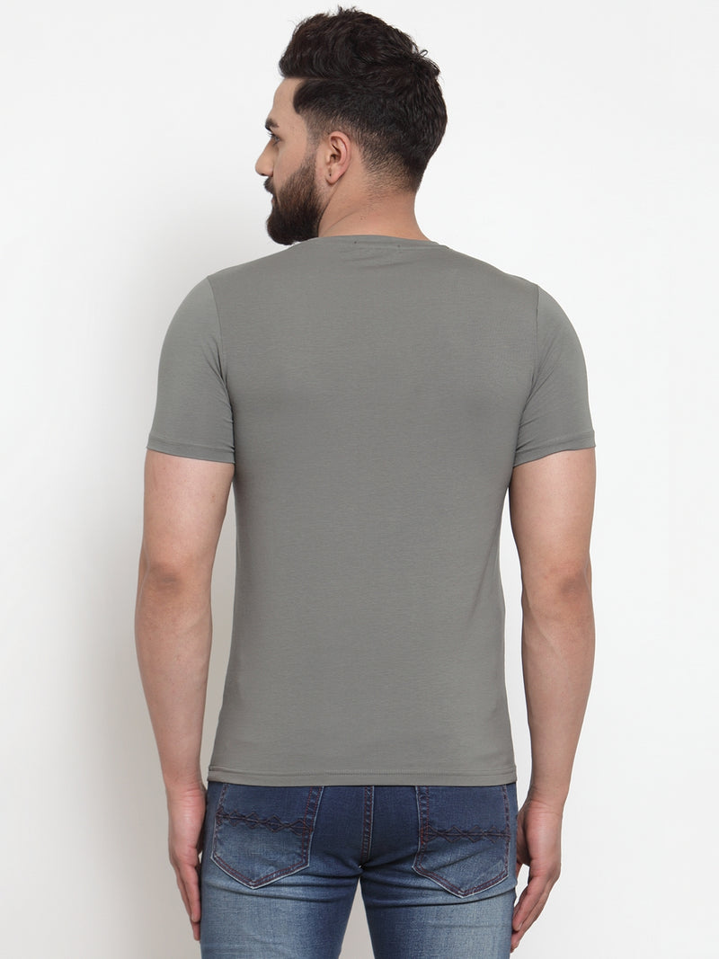 Men Numerical Printed Olive Green Hosiery T-Shirt