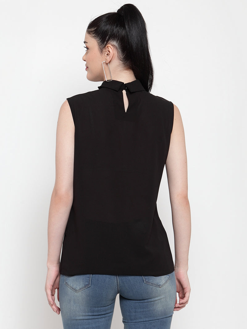 Women Solid Black Turtle Neck Top