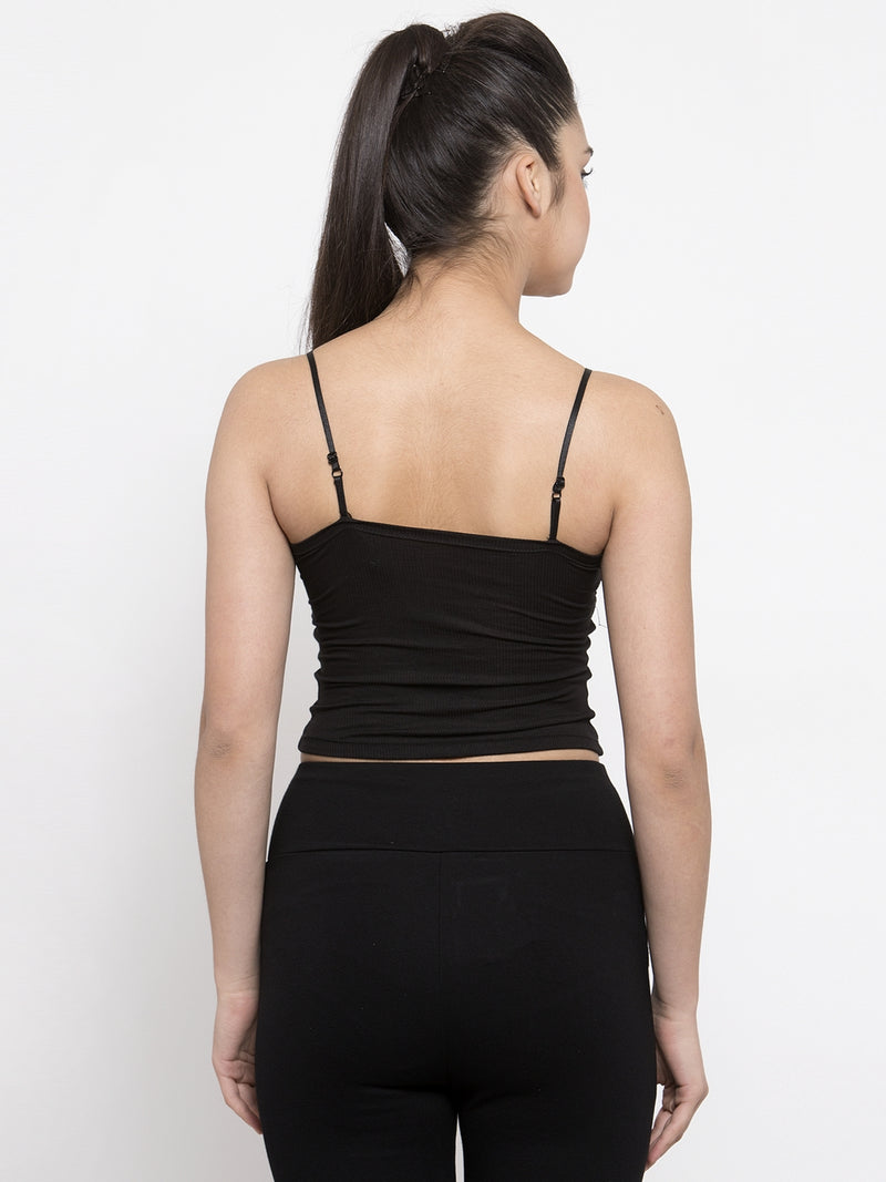 Women Solid Black Top