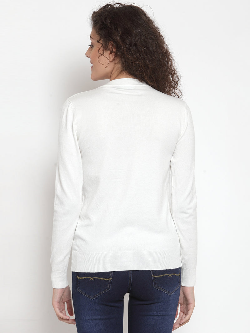Women Off-White Solid Basic Cardigan
