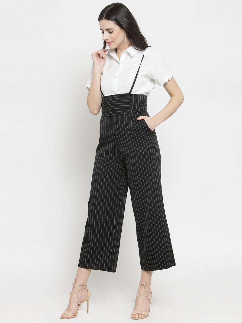 Women Black Striped  Straight Fit Dungarees