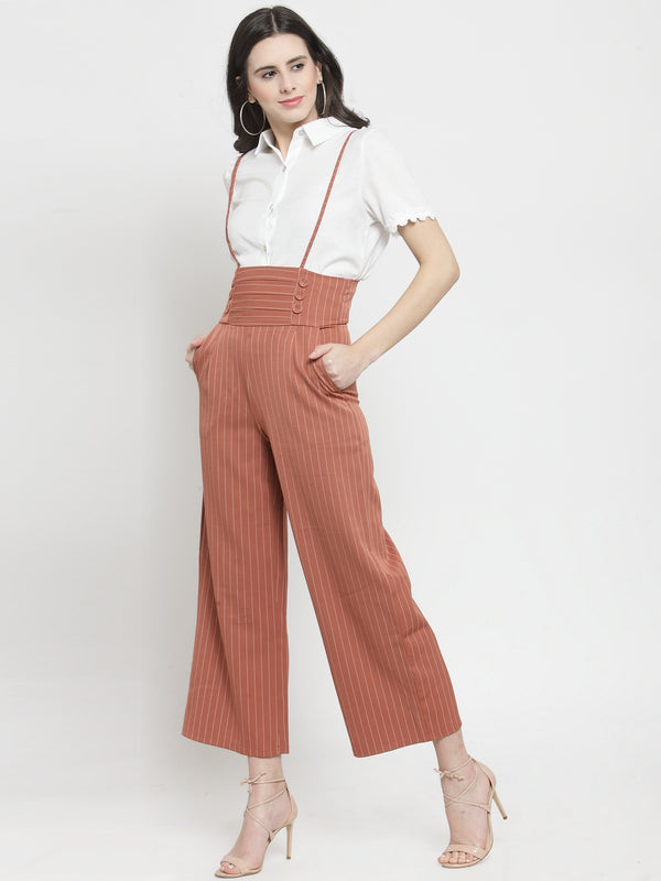 Women Camel Brown Striped  Straight Fit Dungarees