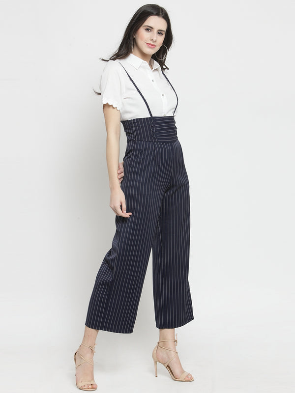 Women Navy Blue Striped  Straight Fit Dungarees