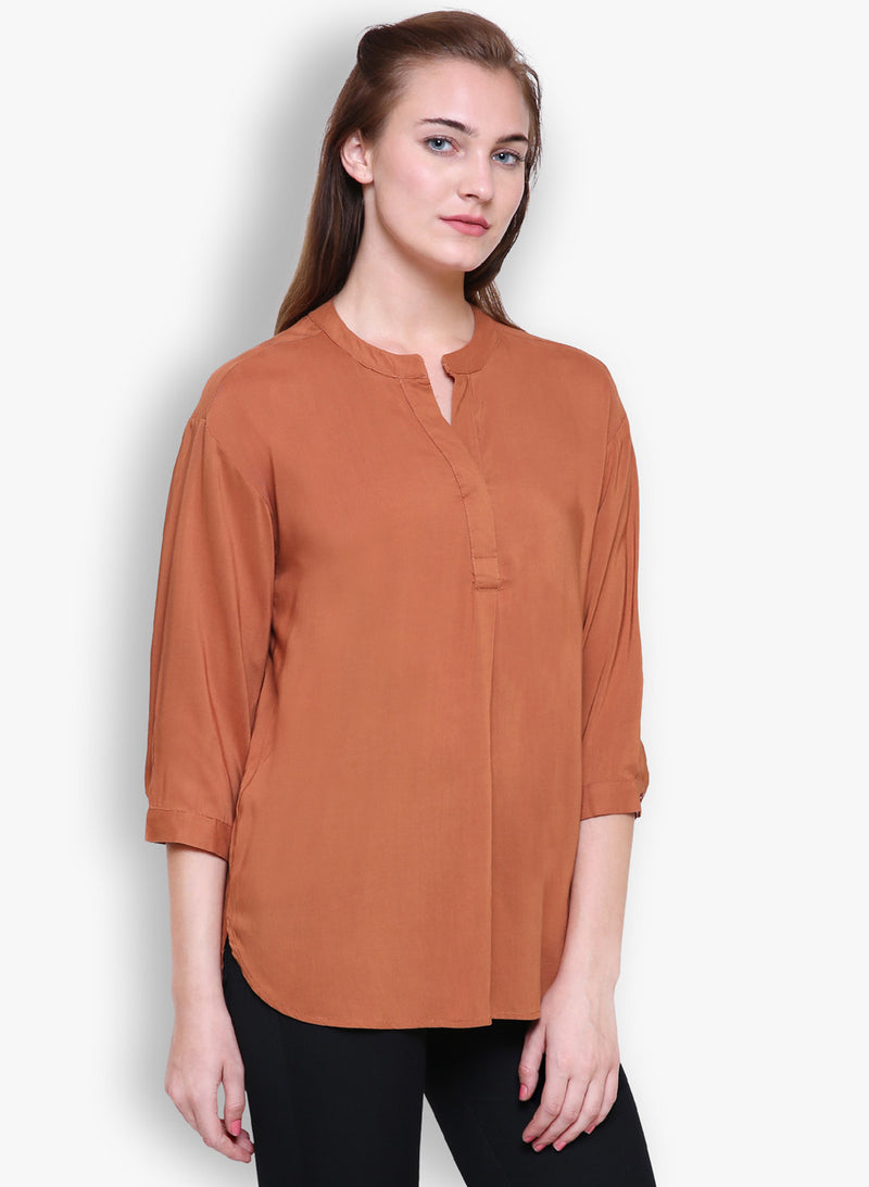 Women Solid Camel Relaxed Fit Top With Mandarin Collar