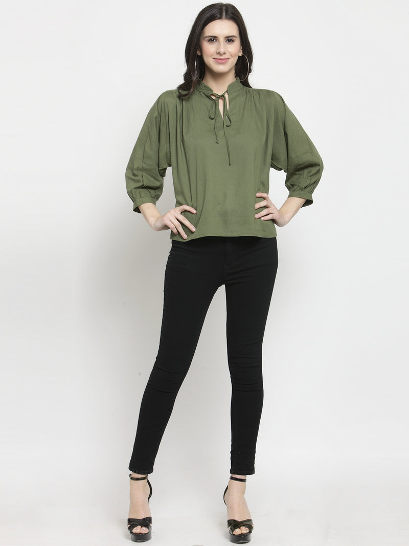 Women Green Solid Tie-Up Collar Regular Fit Tops