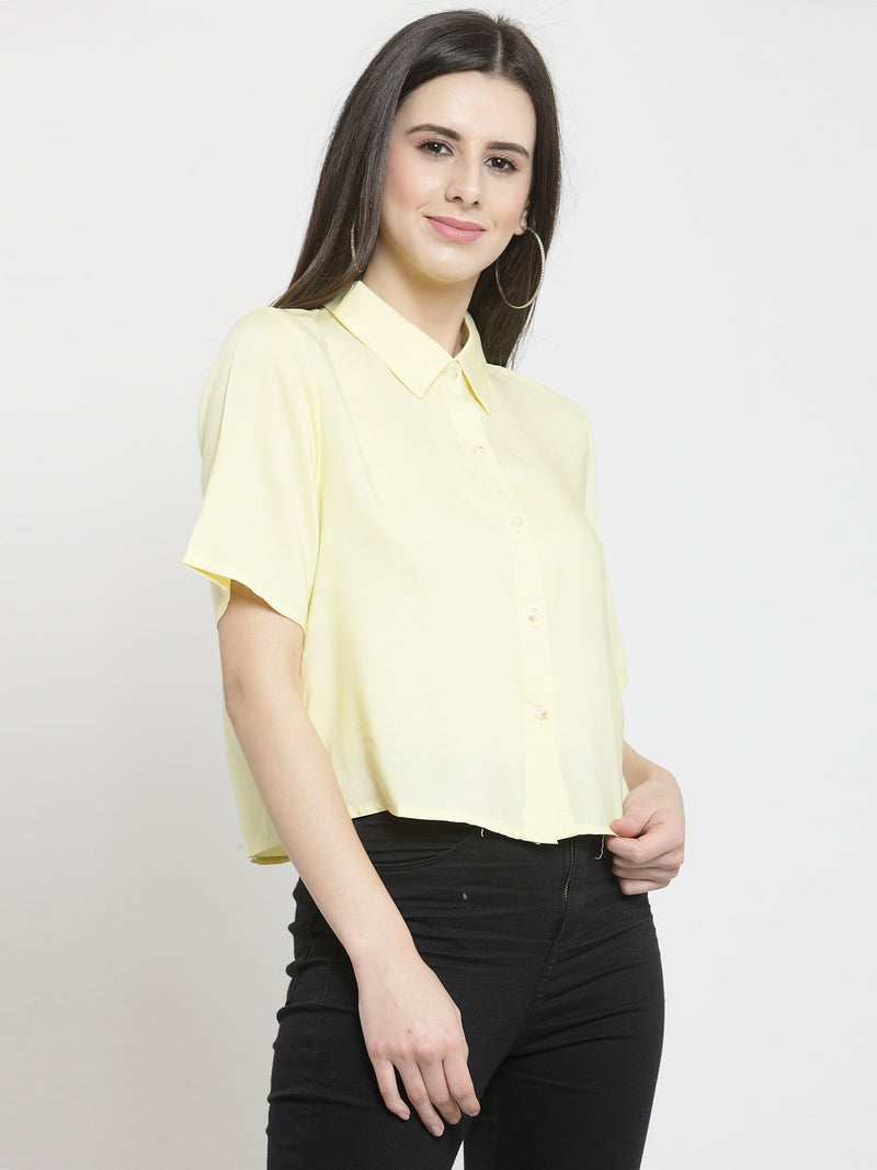 Women Solid Yellow Crop Relaxed Fit Shirt