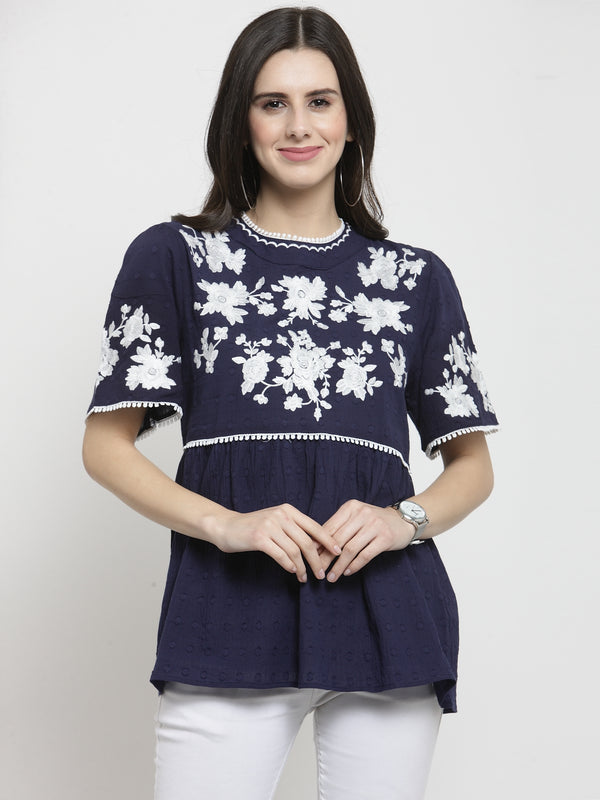 Women Printed Navy Blue Round Neck Top With Floral Embroidery