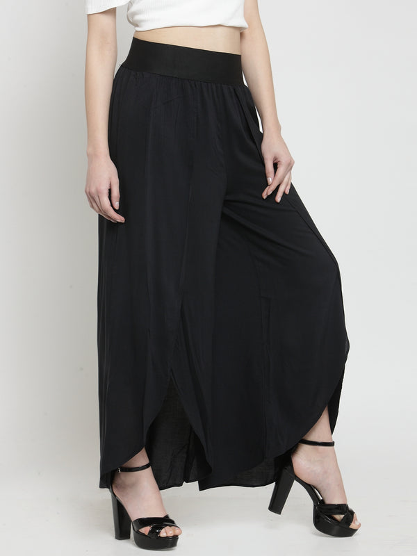 Women Solid Black Plazo With Tulip Hem